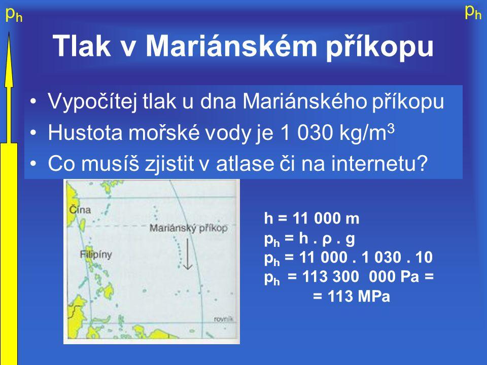 phph phph Tlak v Mariánském příkopu Vypočítej tlak u dna Mariánského příkopu Hustota mořské vody je 1 030 kg/m 3 Co musíš zjistit v atlase či na inter