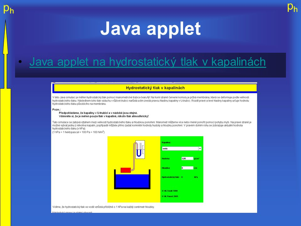 phph phph Java applet Java applet na hydrostatický tlak v kapalinách