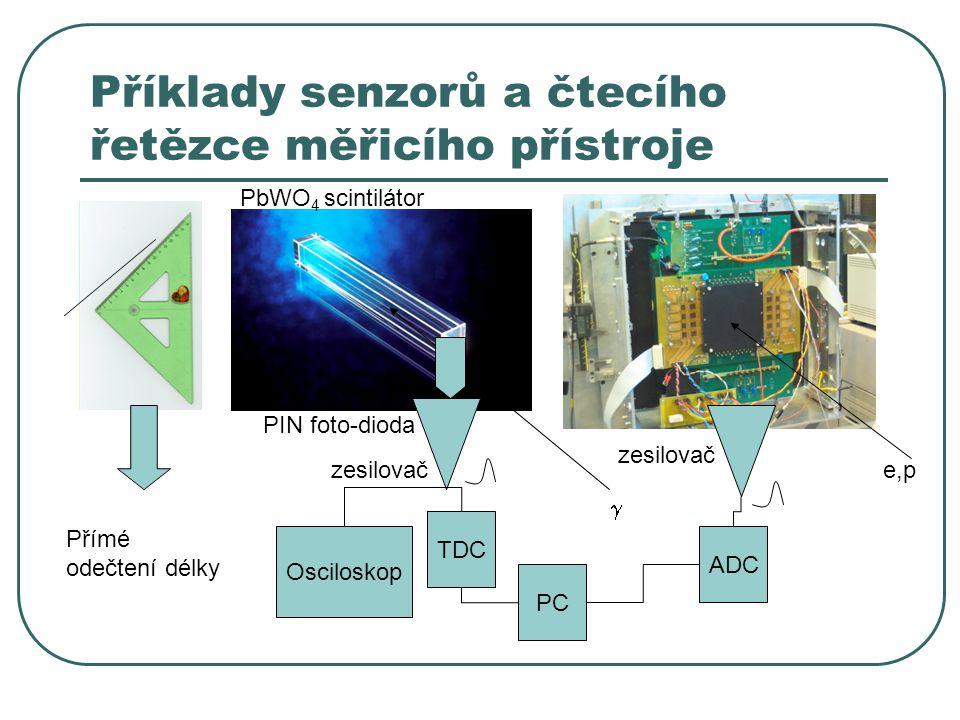 Příklady senzorů a čtecího řetězce měřicího přístroje  e,pzesilovač PIN foto-dioda PbWO 4 scintilátor Přímé odečtení délky Osciloskop TDC PC ADC