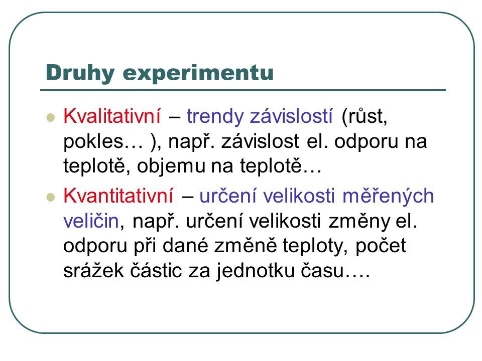 Druhy experimentu Kvalitativní – trendy závislostí (růst, pokles… ), např. závislost el. odporu na teplotě, objemu na teplotě… Kvantitativní – určení