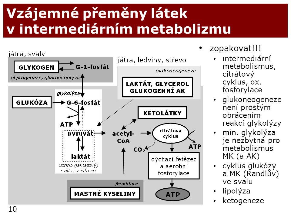 10 Vzájemné přeměny látek v intermediárním metabolizmu zopakovat!!! intermediární metabolismus, citrátový cyklus, ox. fosforylace glukoneogeneze není