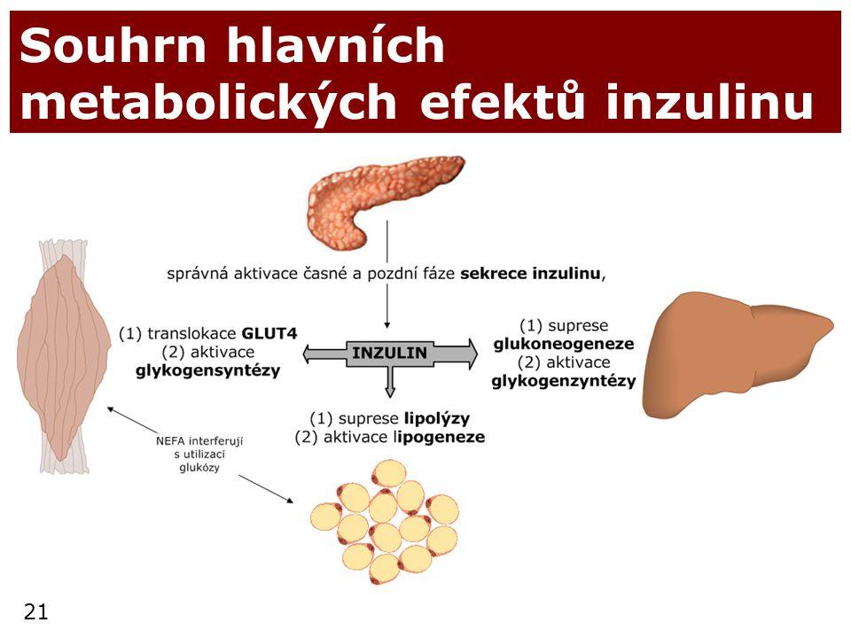 21 Souhrn hlavních metabolických efektů inzulinu