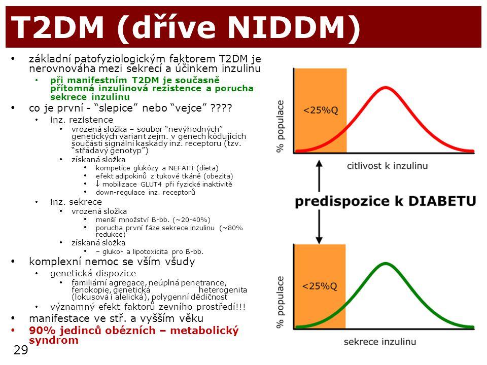 29 T2DM (dříve NIDDM) základní patofyziologickým faktorem T2DM je nerovnováha mezi sekrecí a účinkem inzulinu při manifestním T2DM je současně přítomn