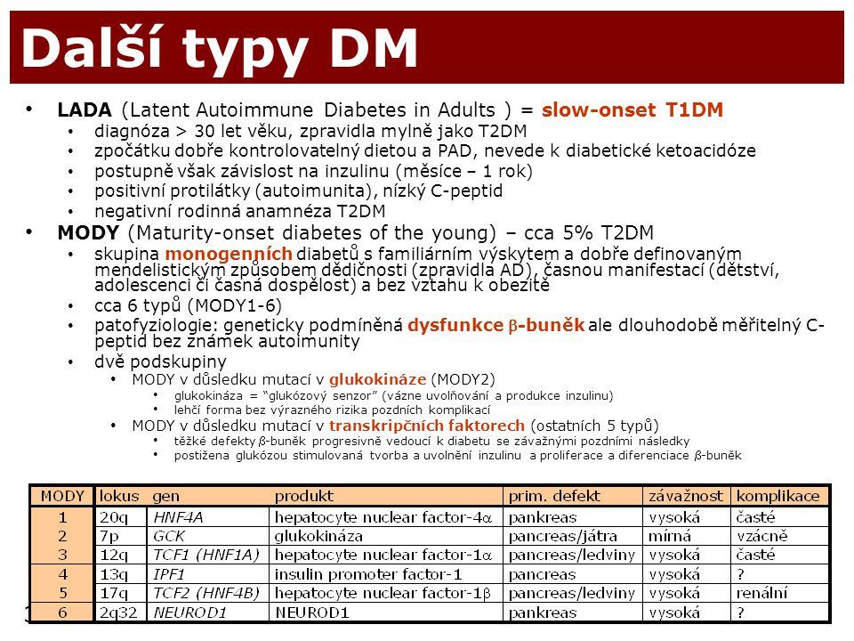 35 Další typy DM LADA (Latent Autoimmune Diabetes in Adults ) = slow-onset T1DM diagnóza > 30 let věku, zpravidla mylně jako T2DM zpočátku dobře kontr