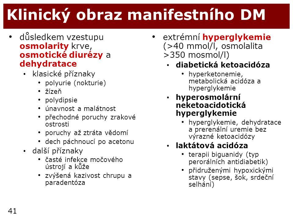41 Klinický obraz manifestního DM důsledkem vzestupu osmolarity krve, osmotické diurézy a dehydratace klasické příznaky polyurie (nokturie) žízeň poly