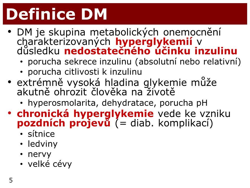 5 Definice DM DM je skupina metabolických onemocnění charakterizovaných hyperglykemií v důsledku nedostatečného účinku inzulinu porucha sekrece inzuli