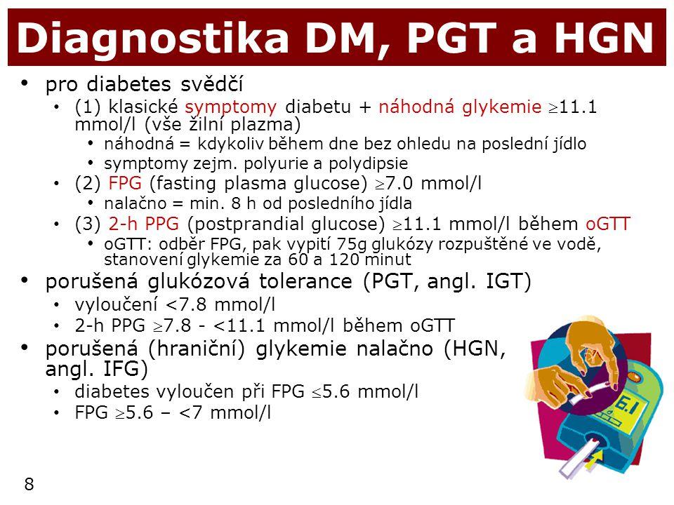8 Diagnostika DM, PGT a HGN pro diabetes svědčí (1) klasické symptomy diabetu + náhodná glykemie 11.1 mmol/l (vše žilní plazma) náhodná = kdykoliv bě