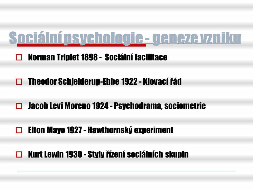 Sociální psychologie - geneze vzniku  Norman Triplet 1898 - Sociální facilitace  Theodor Schjelderup-Ebbe 1922 - Klovací řád  Jacob Levi Moreno 192