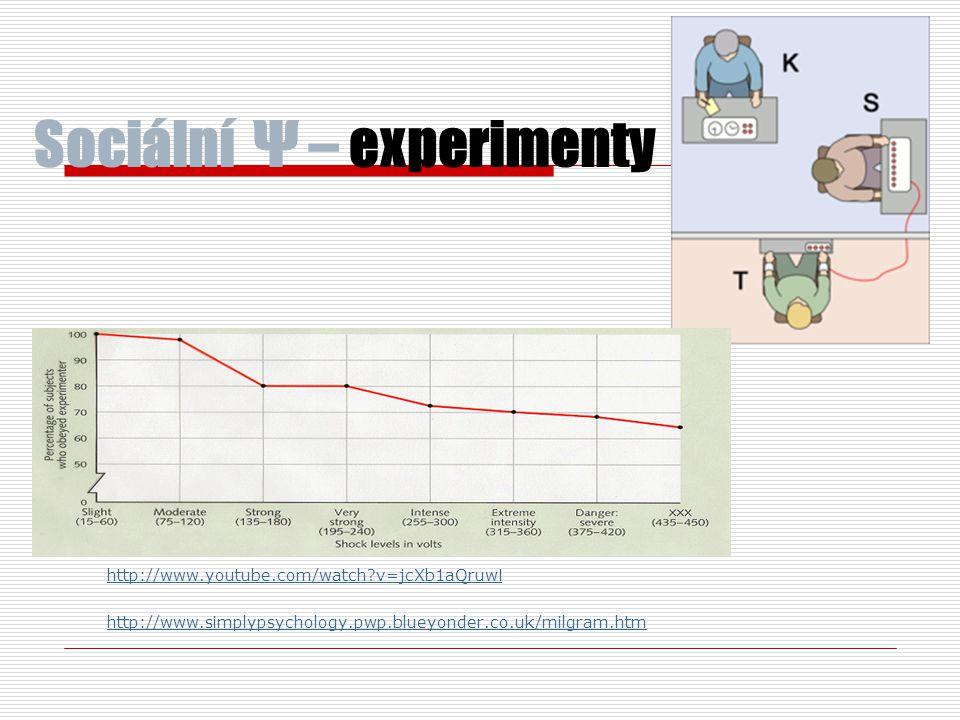 Sociální Ψ – experimenty http://www.youtube.com/watch?v=jcXb1aQruw I http://www.simplypsychology.pwp.blueyonder.co.uk/milgram.htm