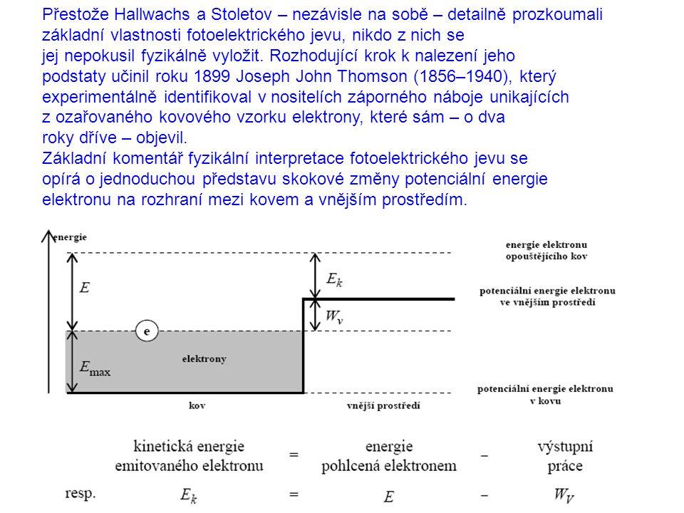 Přestože Hallwachs a Stoletov – nezávisle na sobě – detailně prozkoumali základní vlastnosti fotoelektrického jevu, nikdo z nich se jej nepokusil fyzikálně vyložit.