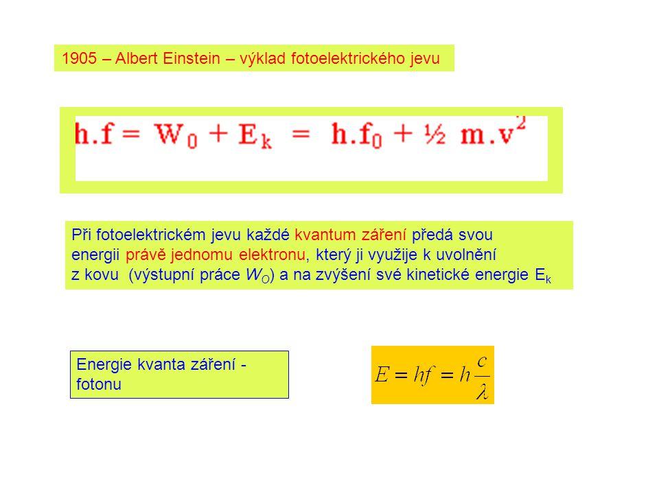 1905 – Albert Einstein – výklad fotoelektrického jevu Při fotoelektrickém jevu každé kvantum záření předá svou energii právě jednomu elektronu, který ji využije k uvolnění z kovu (výstupní práce W O ) a na zvýšení své kinetické energie E k Energie kvanta záření - fotonu