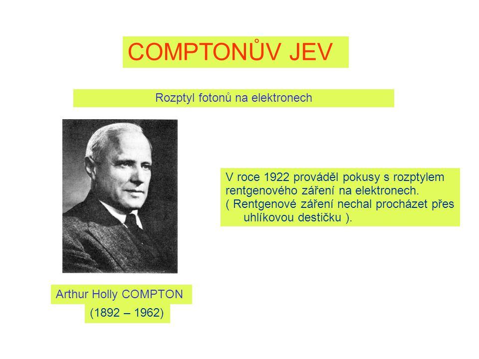 COMPTONŮV JEV Rozptyl fotonů na elektronech Arthur Holly COMPTON V roce 1922 prováděl pokusy s rozptylem rentgenového záření na elektronech.