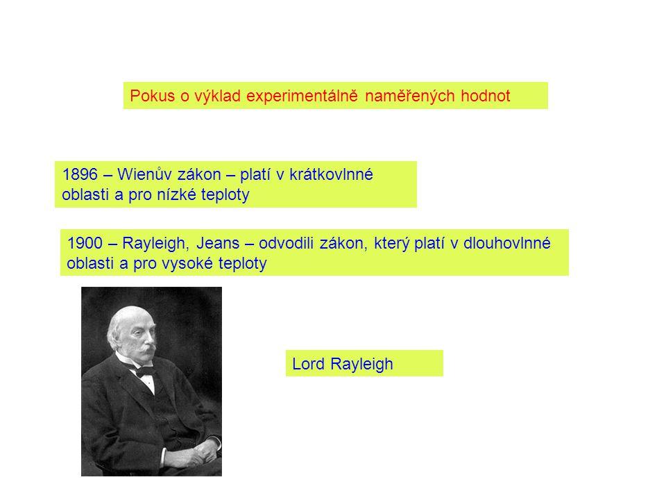 Pokus o výklad experimentálně naměřených hodnot 1896 – Wienův zákon – platí v krátkovlnné oblasti a pro nízké teploty 1900 – Rayleigh, Jeans – odvodili zákon, který platí v dlouhovlnné oblasti a pro vysoké teploty Lord Rayleigh