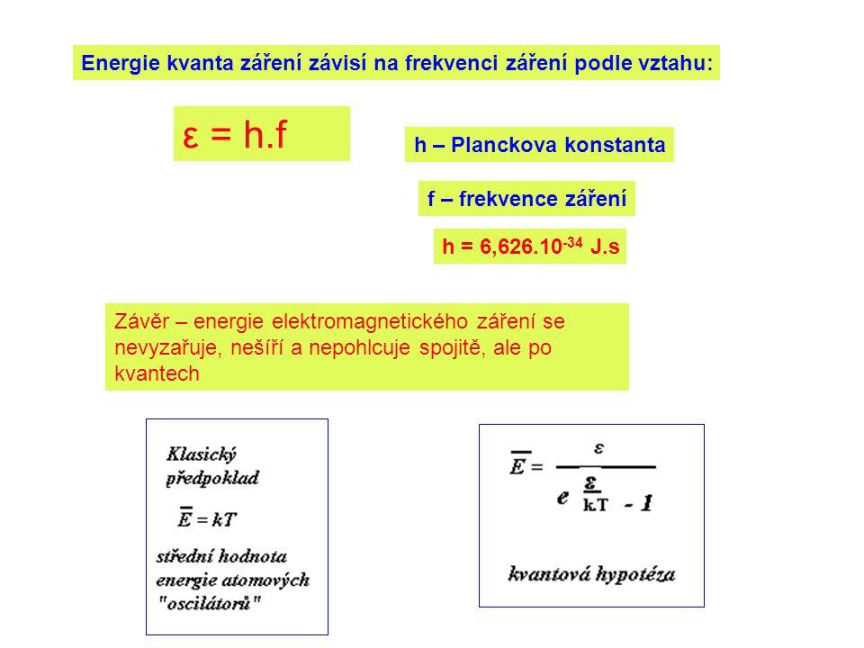 Energie kvanta záření závisí na frekvenci záření podle vztahu: ε = h.f h – Planckova konstanta h = 6,626.10 -34 J.s Závěr – energie elektromagnetického záření se nevyzařuje, nešíří a nepohlcuje spojitě, ale po kvantech f – frekvence záření
