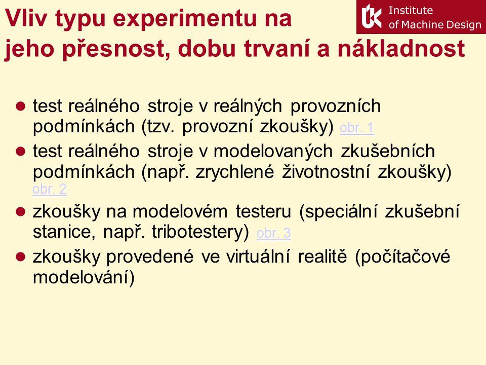 Význam experimentu v procesu Vývoj - Výroba - Užití Vývoj dílčí zkoušky komponentů komplexní testy prototypu identifikace matematických modelů Výroba