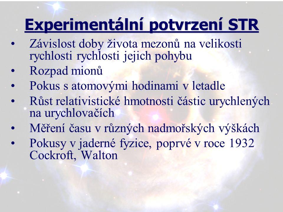 Experimentální potvrzení STR Experimentální potvrzení STR Závislost doby života mezonů na velikosti rychlosti rychlosti jejich pohybu Rozpad mionů Pok