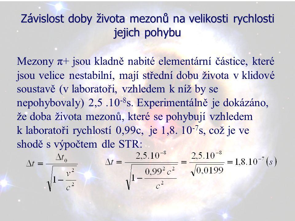 Závislost doby života mezonů na velikosti rychlosti jejich pohybu Mezony π+ jsou kladně nabité elementární částice, které jsou velice nestabilní, mají