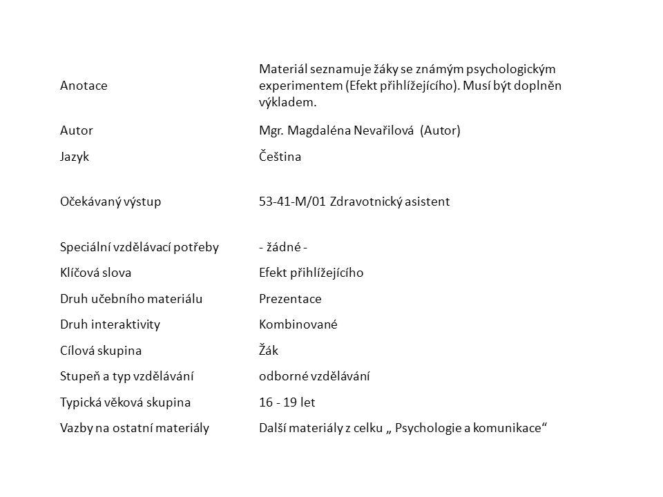 Anotace Materiál seznamuje žáky se známým psychologickým experimentem (Efekt přihlížejícího). Musí být doplněn výkladem. AutorMgr. Magdaléna Nevařilov