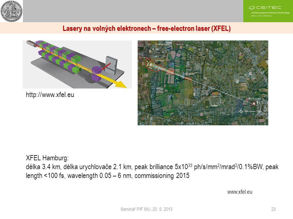 Seminář PřF MU, 20. 9. 201323 Lasery na volných elektronech – free-electron laser (XFEL) http://www.xfel.eu XFEL Hamburg: délka 3.4 km, délka urychlov