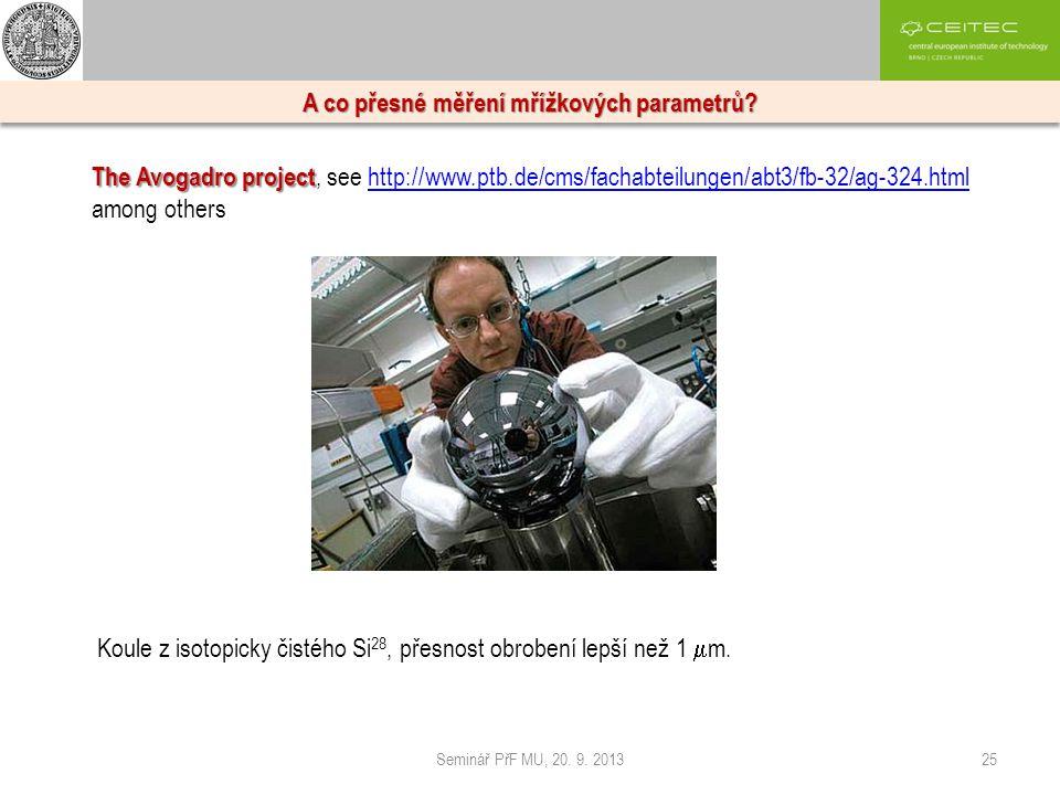 Seminář PřF MU, 20. 9. 201325 A co přesné měření mřížkových parametrů? The Avogadro project The Avogadro project, see http://www.ptb.de/cms/fachabteil
