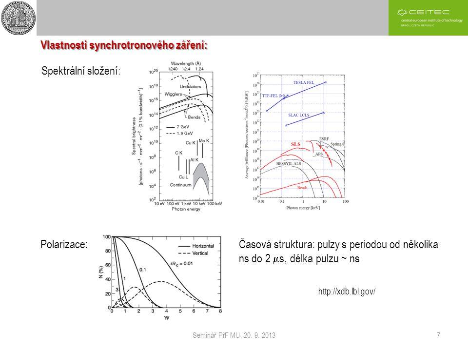 Seminář PřF MU, 20. 9. 20137 Vlastnosti synchrotronového záření: Spektrální složení: Polarizace: Časová struktura: pulzy s periodou od několika ns do