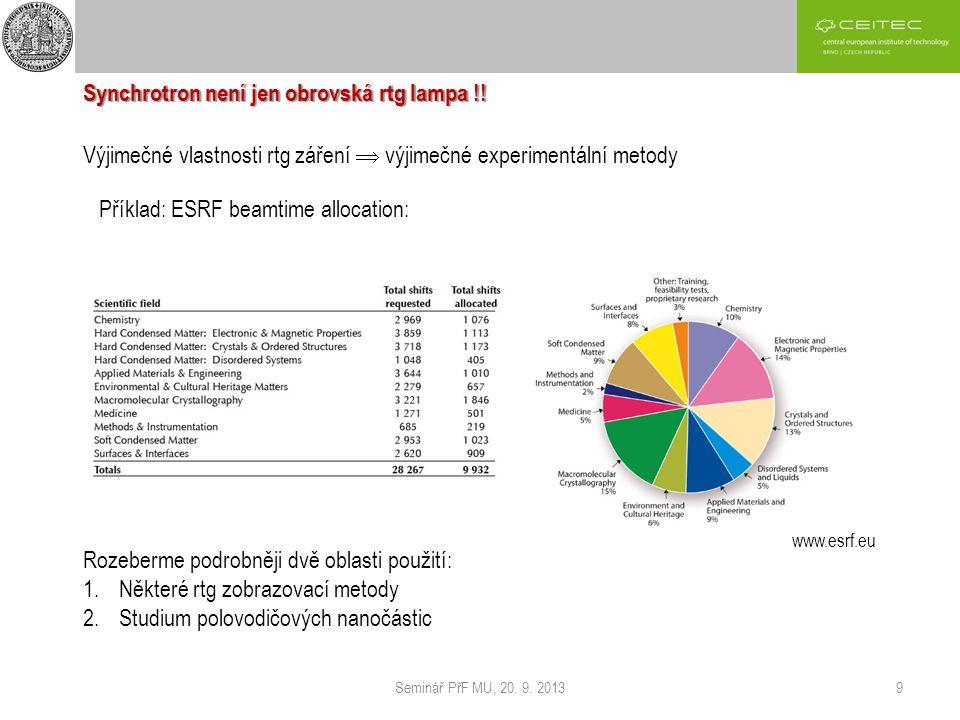 Seminář PřF MU, 20. 9. 20139 Synchrotron není jen obrovská rtg lampa !! Výjimečné vlastnosti rtg záření  výjimečné experimentální metody Příklad: ESR