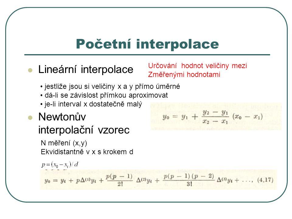 Početní interpolace Lineární interpolace Newtonův interpolační vzorec jestliže jsou si veličiny x a y přímo úměrné dá-li se závislost přímkou aproximo
