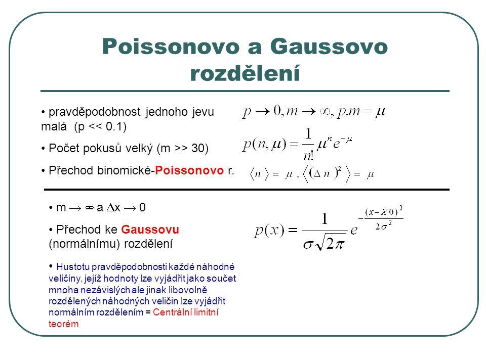 Poissonovo a Gaussovo rozdělení pravděpodobnost jednoho jevu malá (p << 0.1) Počet pokusů velký (m >> 30) Přechod binomické-Poissonovo r. m   a  x