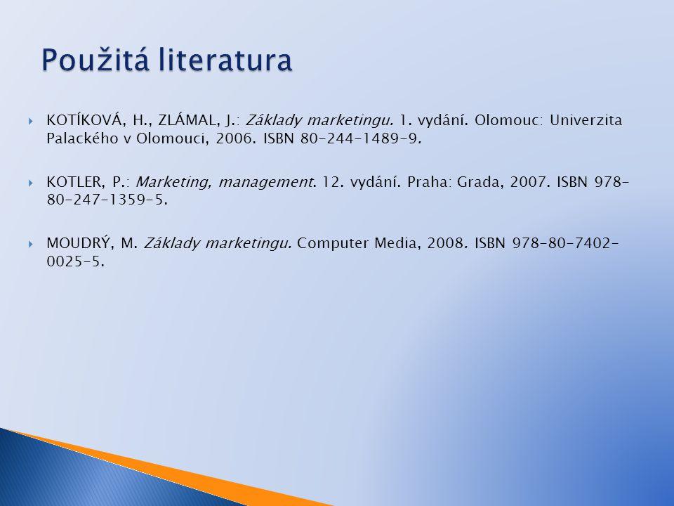  KOTÍKOVÁ, H., ZLÁMAL, J.: Základy marketingu. 1.