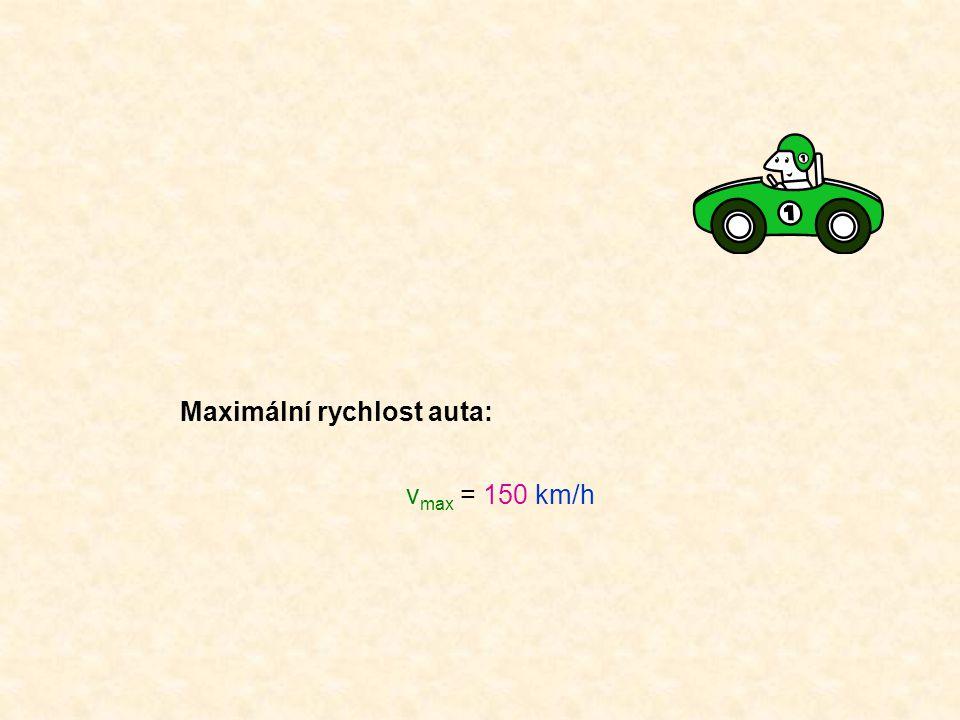 Maximální rychlost auta: v max = 150 km/h