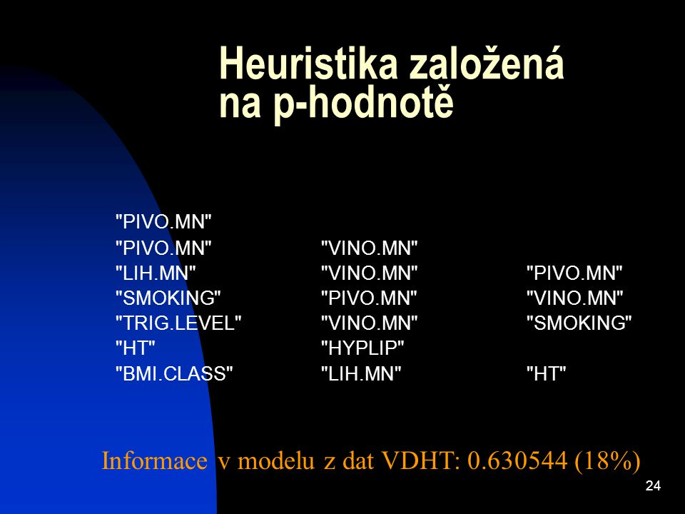 24 Heuristika založená na p-hodnotě PIVO.MN PIVO.MN VINO.MN LIH.MN VINO.MN PIVO.MN SMOKING PIVO.MN VINO.MN TRIG.LEVEL VINO.MN SMOKING HT HYPLIP BMI.CLASS LIH.MN HT Informace v modelu z dat VDHT: 0.630544 (18%)