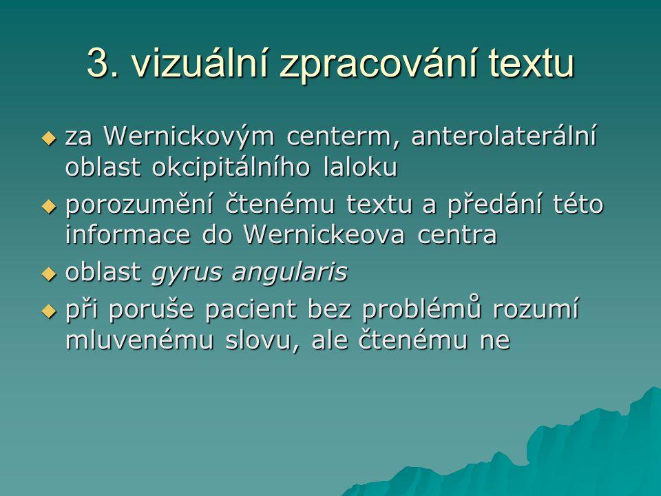 3. vizuální zpracování textu  za Wernickovým centerm, anterolaterální oblast okcipitálního laloku  porozumění čtenému textu a předání této informace