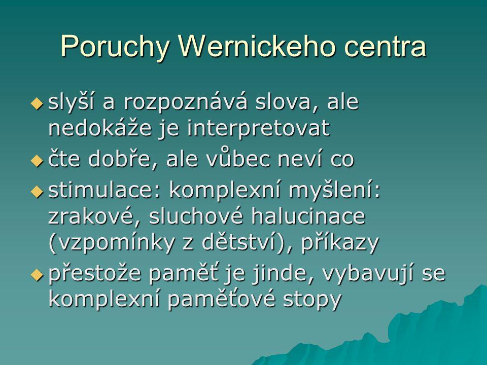 Poruchy Wernickeho centra  slyší a rozpoznává slova, ale nedokáže je interpretovat  čte dobře, ale vůbec neví co  stimulace: komplexní myšlení: zra
