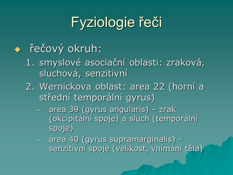 Fyziologie řeči  řečový okruh: 1.smyslové asociační oblasti: zraková, sluchová, senzitivní 2.Wernickova oblast: area 22 (horní a střední temporální g