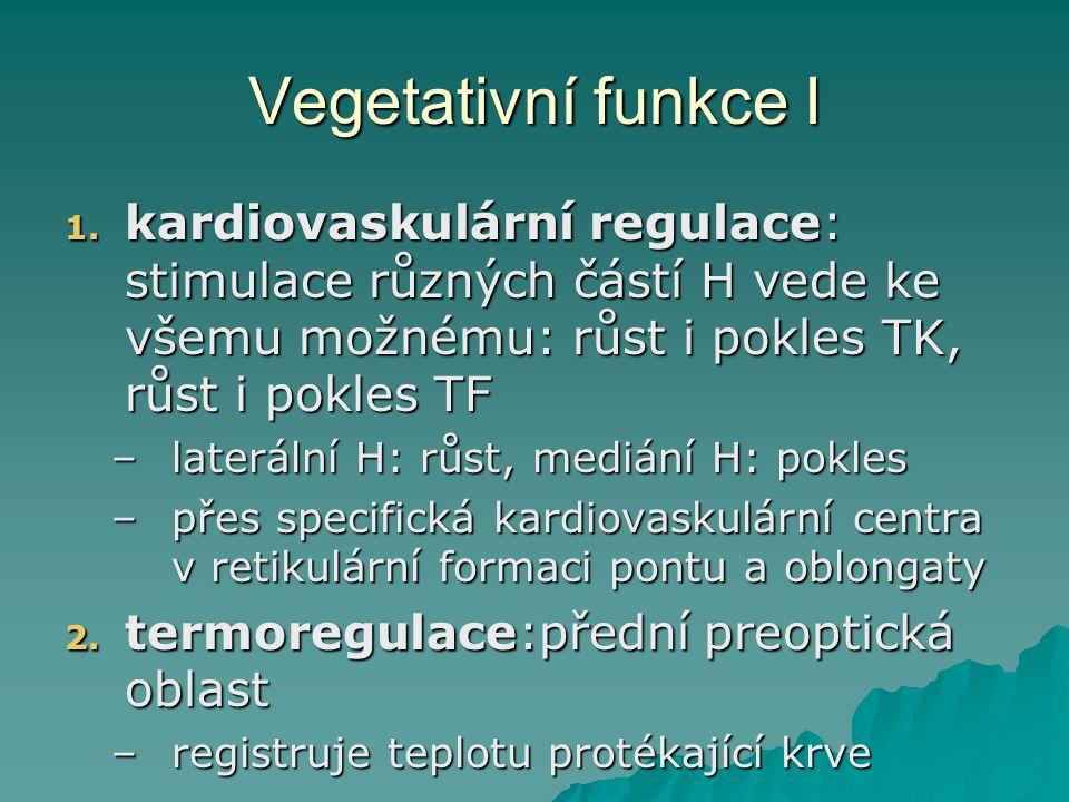 Vegetativní funkce I 1. kardiovaskulární regulace: stimulace různých částí H vede ke všemu možnému: růst i pokles TK, růst i pokles TF –laterální H: r