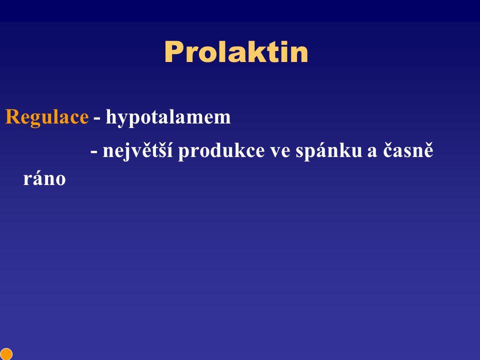 Prolaktin Regulace - hypotalamem - největší produkce ve spánku a časně ráno