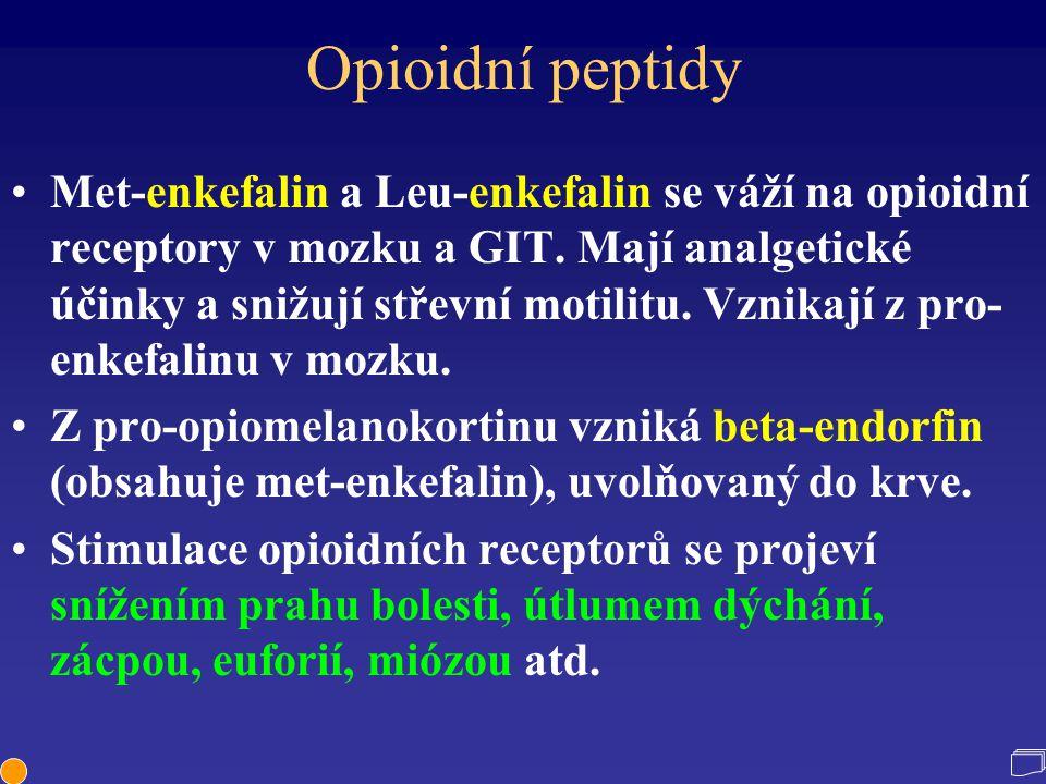 Opioidní peptidy Met-enkefalin a Leu-enkefalin se váží na opioidní receptory v mozku a GIT. Mají analgetické účinky a snižují střevní motilitu. Vznika