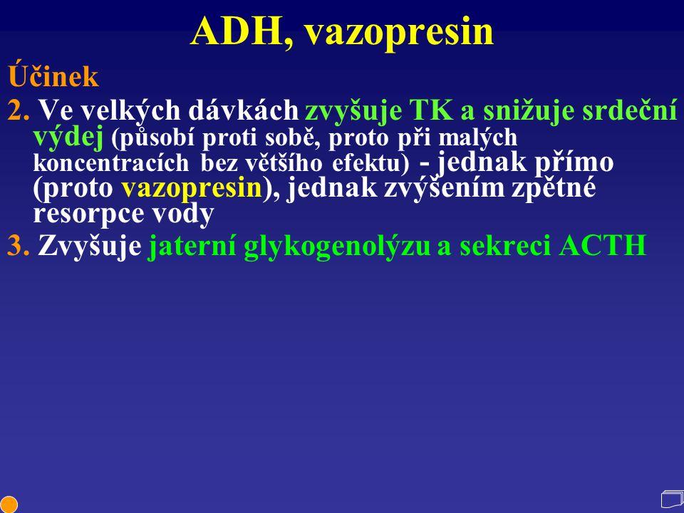 ADH, vazopresin Účinek 2. Ve velkých dávkách zvyšuje TK a snižuje srdeční výdej (působí proti sobě, proto při malých koncentracích bez většího efektu)