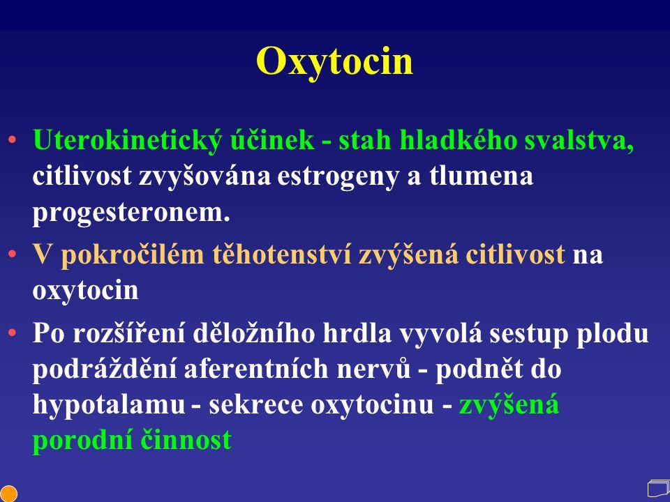 Oxytocin Uterokinetický účinek - stah hladkého svalstva, citlivost zvyšována estrogeny a tlumena progesteronem. V pokročilém těhotenství zvýšená citli