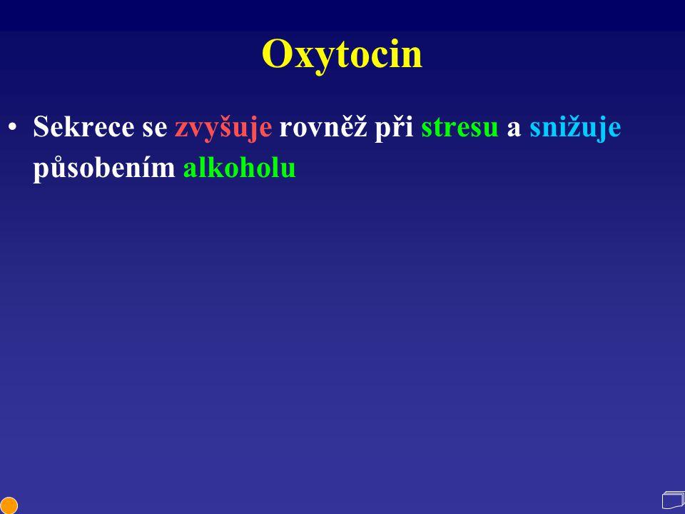 Oxytocin Sekrece se zvyšuje rovněž při stresu a snižuje působením alkoholu