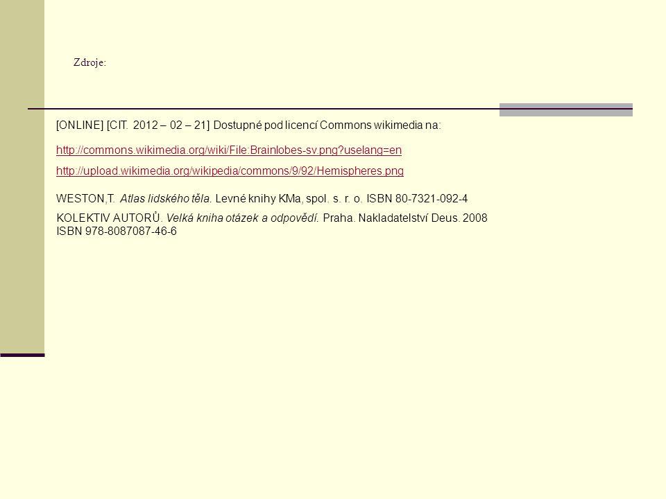 Zdroje: http://commons.wikimedia.org/wiki/File:Brainlobes-sv.png?uselang=en http://upload.wikimedia.org/wikipedia/commons/9/92/Hemispheres.png KOLEKTI