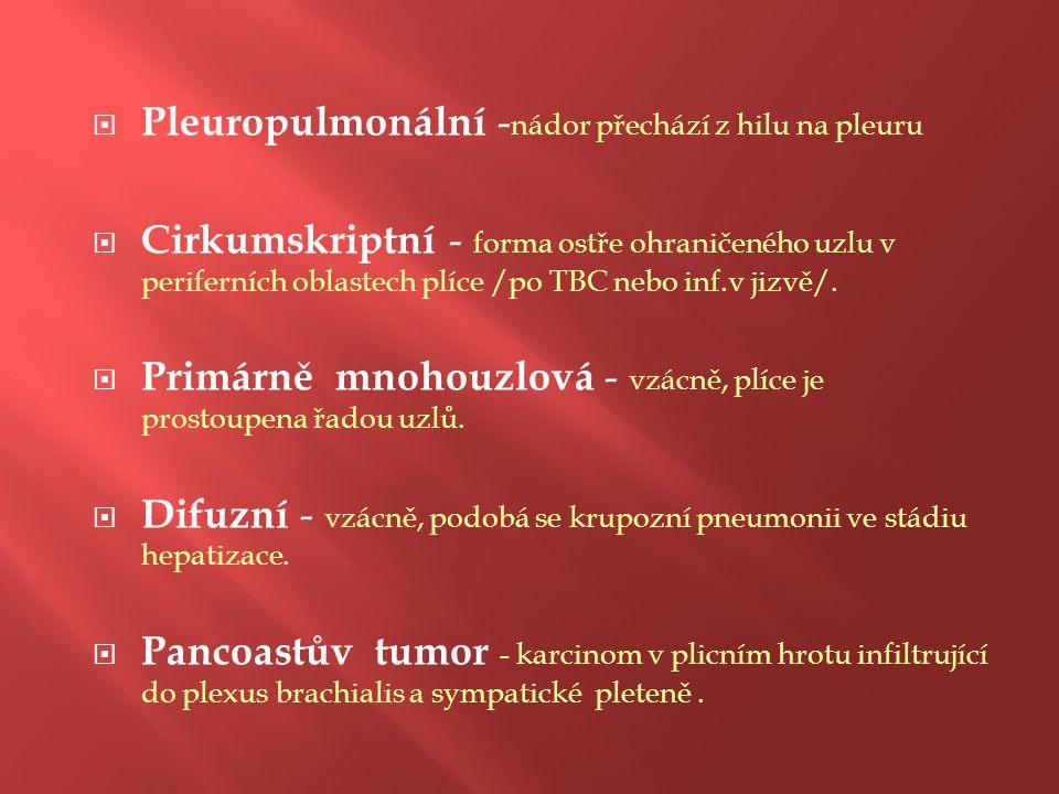  Pleuropulmonální - nádor přechází z hilu na pleuru  Cirkumskriptní - forma ostře ohraničeného uzlu v periferních oblastech plíce /po TBC nebo inf.v