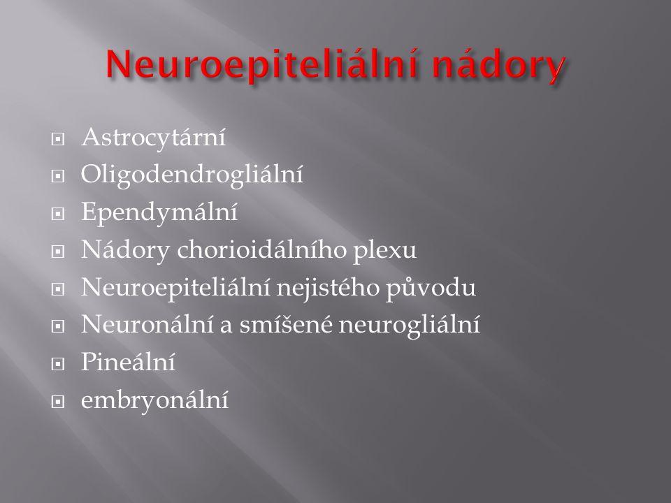  Astrocytární  Oligodendrogliální  Ependymální  Nádory chorioidálního plexu  Neuroepiteliální nejistého původu  Neuronální a smíšené neurogliální  Pineální  embryonální