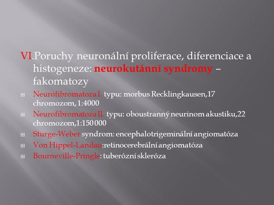 VI.Poruchy neuronální proliferace, diferenciace a histogeneze: neurokutánní syndromy – fakomatozy  Neurofibromatoza I.