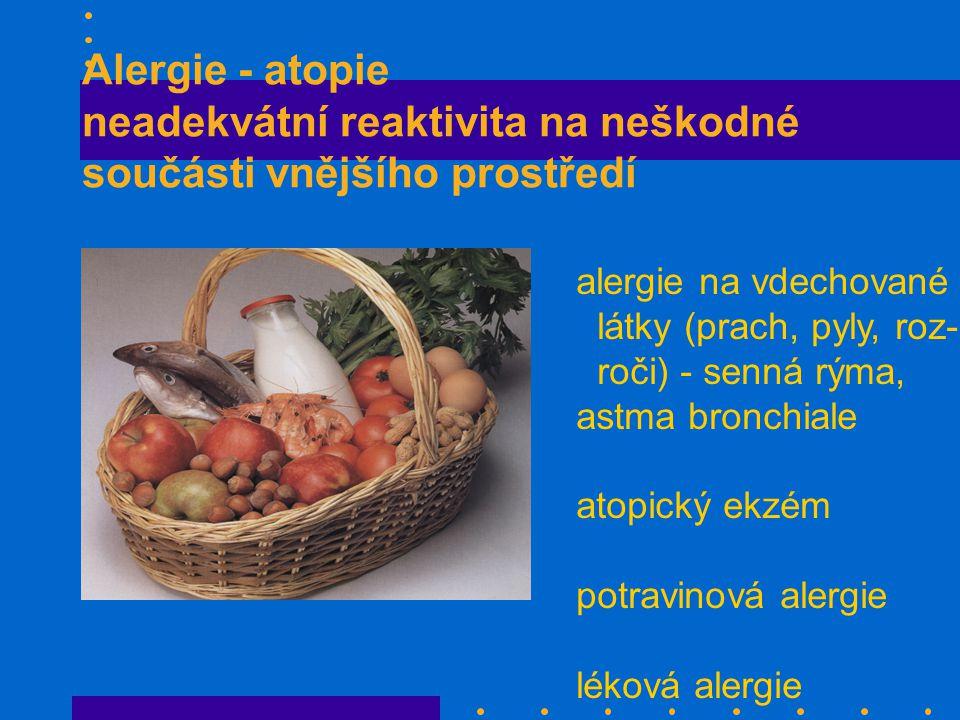Alergie - atopie neadekvátní reaktivita na neškodné součásti vnějšího prostředí alergie na vdechované látky (prach, pyly, roz- roči) - senná rýma, astma bronchiale atopický ekzém potravinová alergie léková alergie