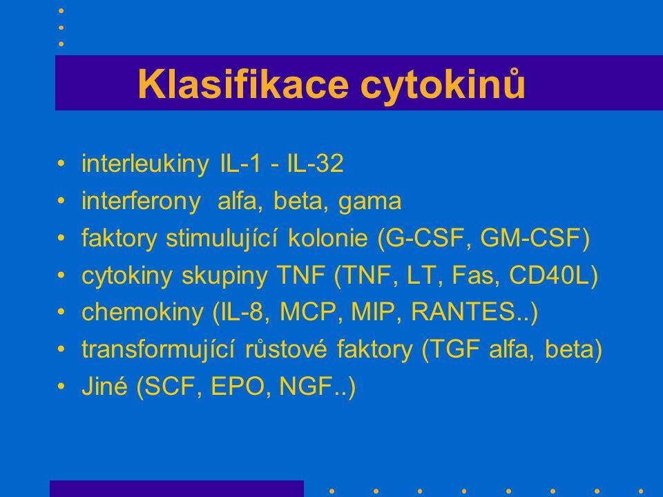 Klasifikace cytokinů interleukiny IL-1 - IL-32 interferony alfa, beta, gama faktory stimulující kolonie (G-CSF, GM-CSF) cytokiny skupiny TNF (TNF, LT, Fas, CD40L) chemokiny (IL-8, MCP, MIP, RANTES..) transformující růstové faktory (TGF alfa, beta) Jiné (SCF, EPO, NGF..)