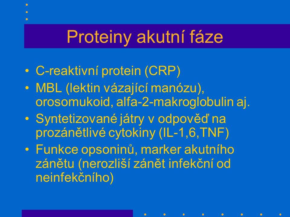 Proteiny akutní fáze C-reaktivní protein (CRP) MBL (lektin vázající manózu), orosomukoid, alfa-2-makroglobulin aj.