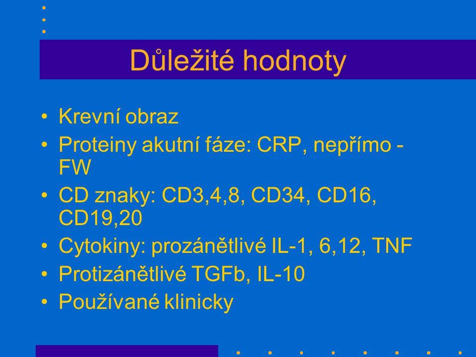 Důležité hodnoty Krevní obraz Proteiny akutní fáze: CRP, nepřímo - FW CD znaky: CD3,4,8, CD34, CD16, CD19,20 Cytokiny: prozánětlivé IL-1, 6,12, TNF Protizánětlivé TGFb, IL-10 Používané klinicky