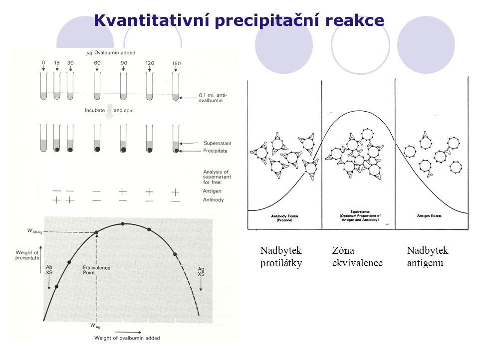 Kvantitativní precipitační reakce Nadbytek protilátky Zóna ekvivalence Nadbytek antigenu