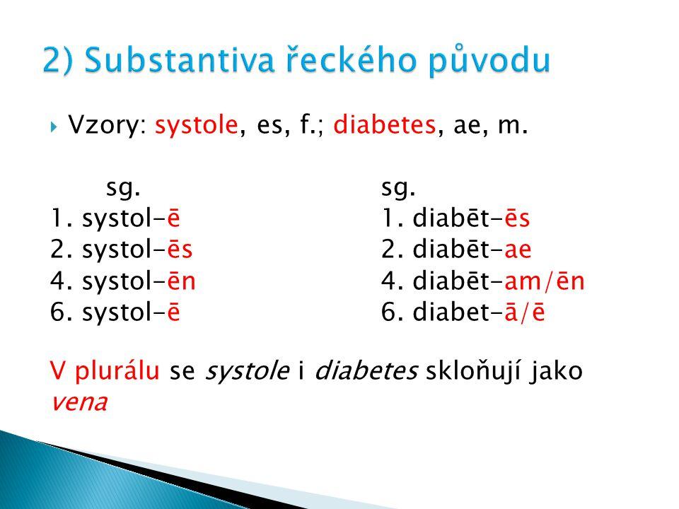  Vzory: systole, es, f.; diabetes, ae, m. sg.sg. 1. systol-ē1. diabēt-ēs 2. systol-ēs2. diabēt-ae 4. systol-ēn4. diabēt-am/ēn 6. systol-ē6. diabet-ā/